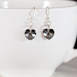 Crystal Silver Night Sweet Heart Earrings