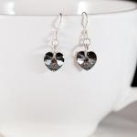 Crystal Silver Night Sweet Heart Earrings