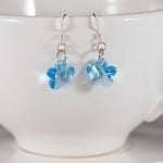 <!--011-->Aquamarine Crystal Flower Earrings