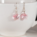 Light Rose Crystal Flower Earrings
