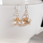 Golden Shadow Crystal Flower Earrings