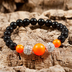 Neon Orange Cluster Bracelet