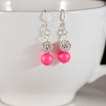 Neon Pink Sparkle Earrings