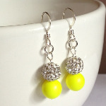 Neon Yellow Sparkle Earrings