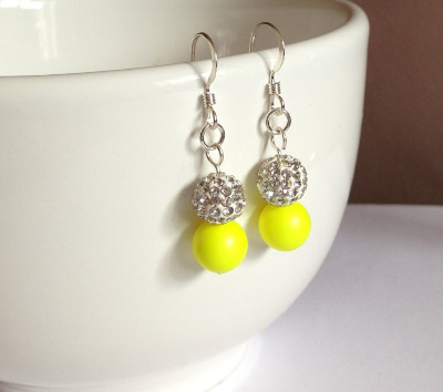 <!--012-->Neon Yellow Sparkle Earrings
