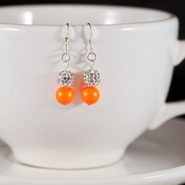 neon orange sparkle earrings