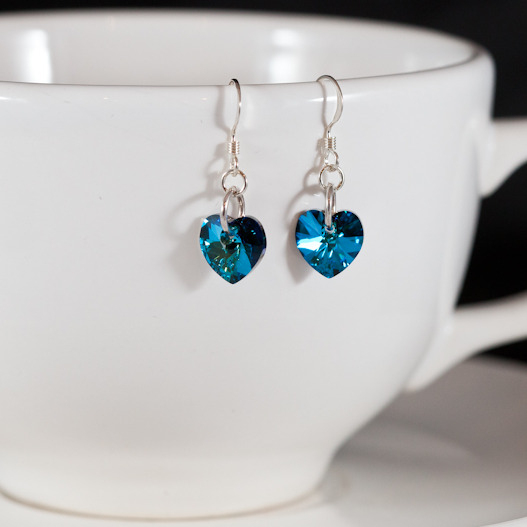 bermuda blue sweet heart earrings