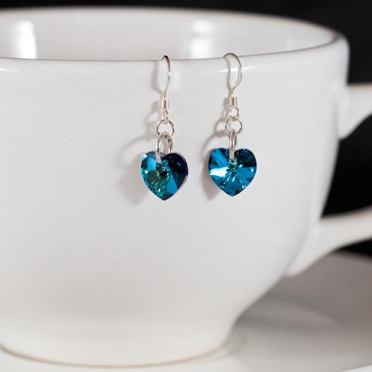 bermuda blue sweet heart earrings