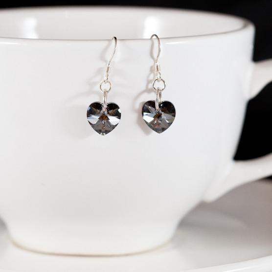 crystal silver night sweet heart earrings 2