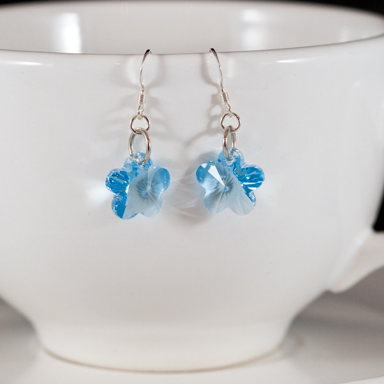 aqua crystal flower earrings