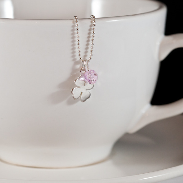 lucky clover necklace pink