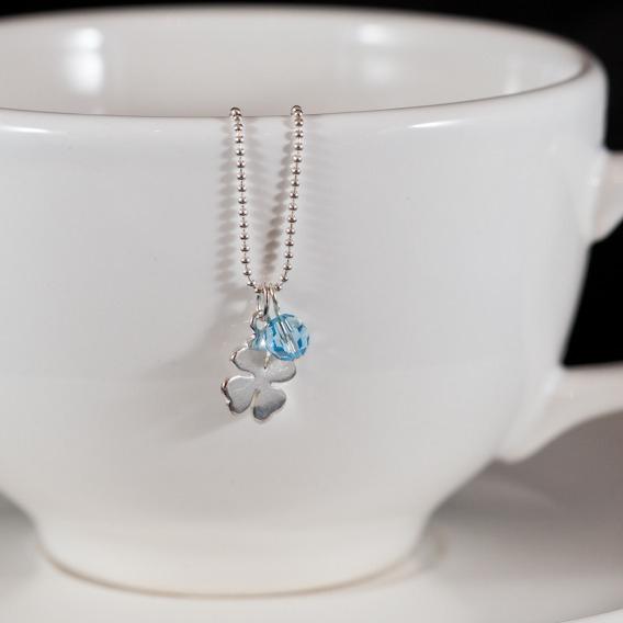 lucky clover pendant blue
