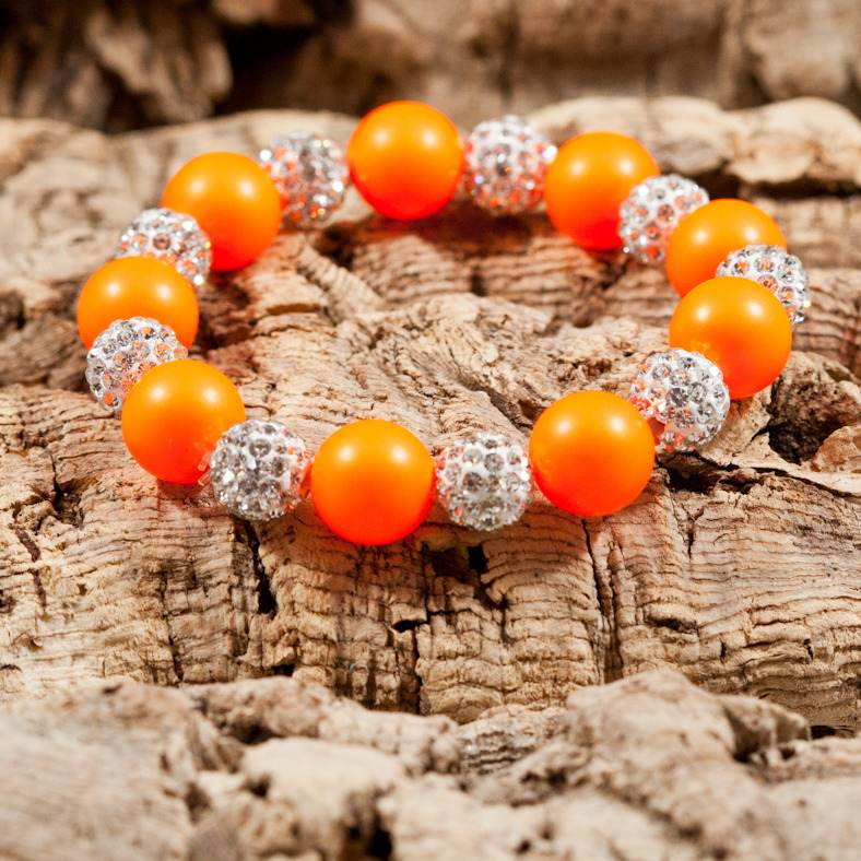 neon orange big sparkle bracelet