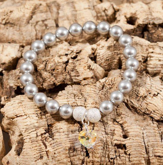 crystal & silver peral bracelet