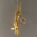 <!--014-->Golden Dragonfly Necklace