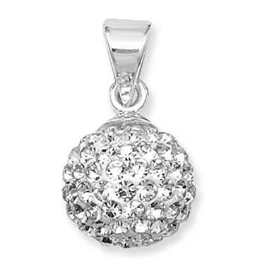 <!--010--> Sterling Silver Shamballa Crystal Pendant