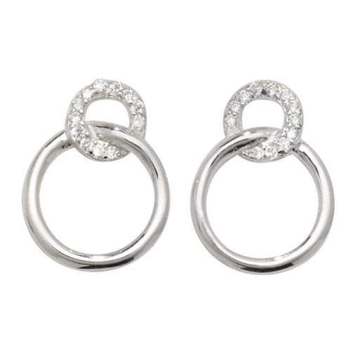 <!--013--> Sterling Silver Ring Drop Earrings