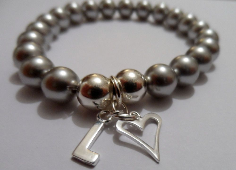<!--001-->Swarovski Light Grey Initial Bracelet