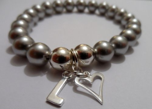 <!--001-->Swarovski Light Grey Initial Bracelet