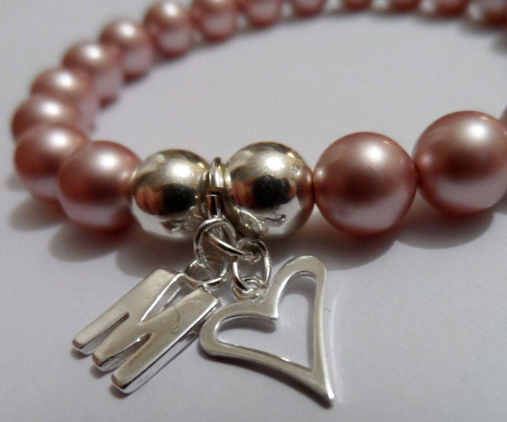 <!--002-->Swarovski Rose Pink Initial Bracelet