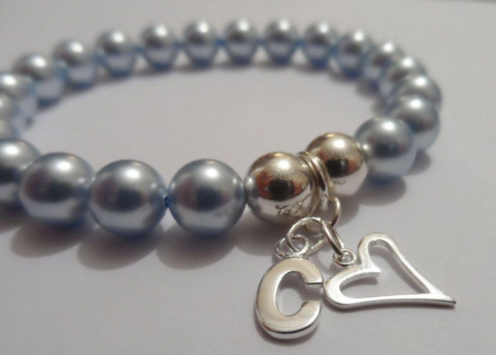 <!--003-->Swarovski Light Blue Initial Bracelet