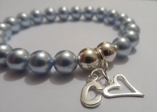 <!--003-->Swarovski Light Blue Initial Bracelet