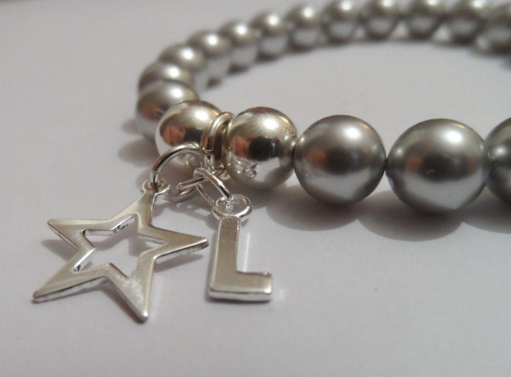 <!--004--> Swarovski Light Grey Initial Bracelet with Star