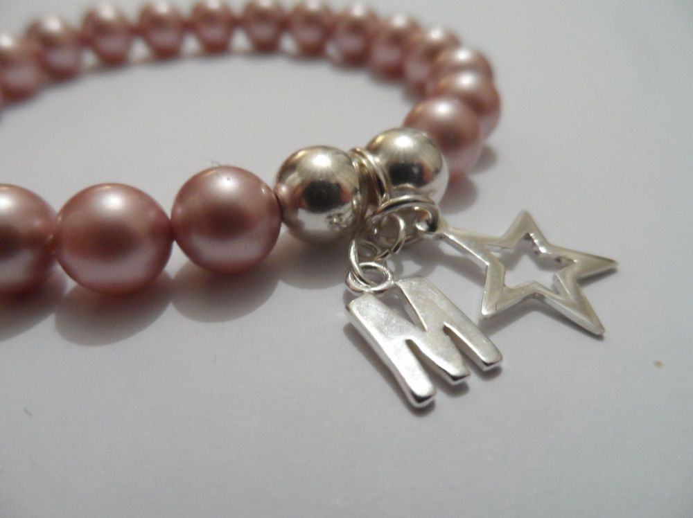 <!--005-->Swarovski Rose Initial Bracelet with Star