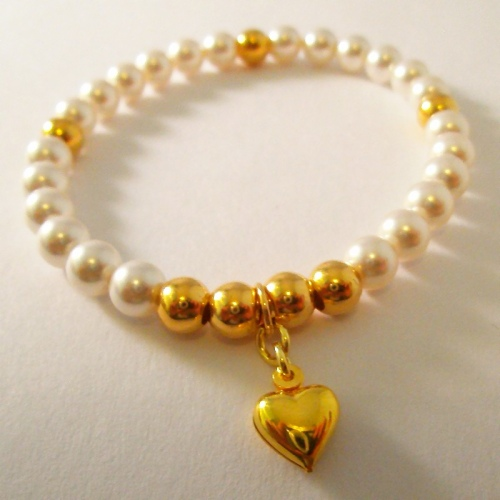 <!--005-->Swarovski White Heart Bracelet