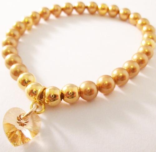 <!--008-->Swarovski Gold Crystal Heart Bracelet