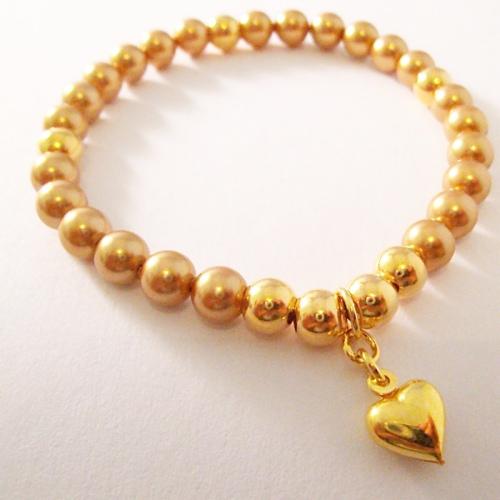 <!--009-->Swarovski Gold Heart Bracelet