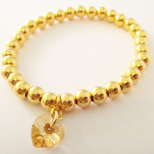 <!--011-->Vermeil Gold Crystal heart Bracelet