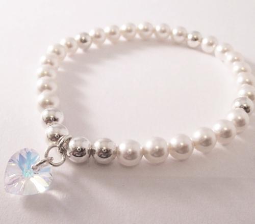 <!--012-->Swarovski White & Silver Heart Bracelet