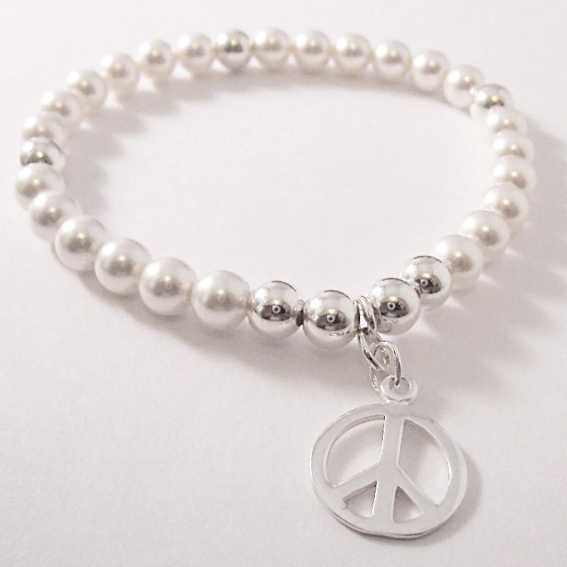 <!--014-->Swarovski White & Silver Peace Bracelet