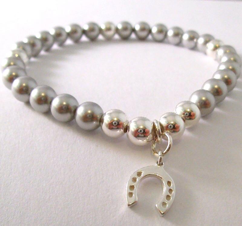 <!--015-->Swarovski Silver Horseshoe Bracelet