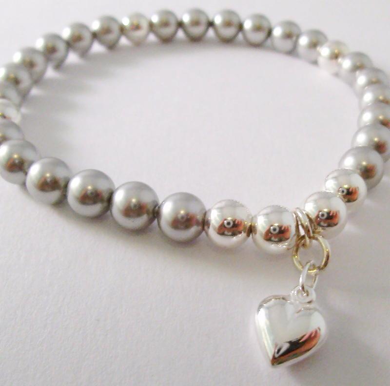 <!--016-->Swarovski Silver Heart Bracelet