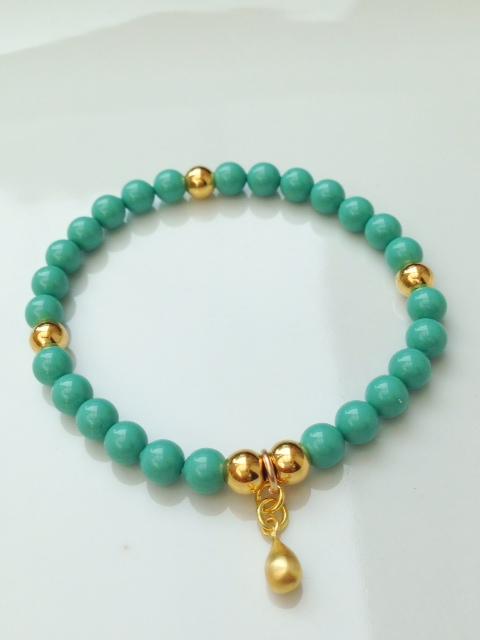 <!--002-->Swarovski Jade & Gold Drop Bracelet