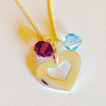 Personalised Birthstone & Heart Necklace