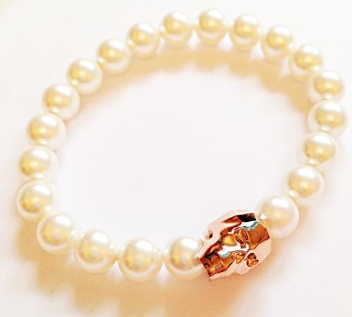 <!--001--> Rose Gold Swarovski Crystal Skull Bracelet