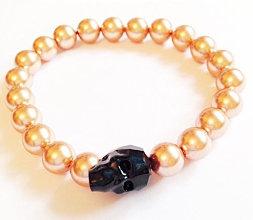 <!--004-->Black Swarovski Crystal Skull & Rose Gold Pearls