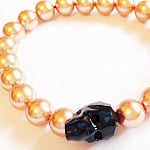 Black Swarovski Crystal Skull & Rose Gold Pearls