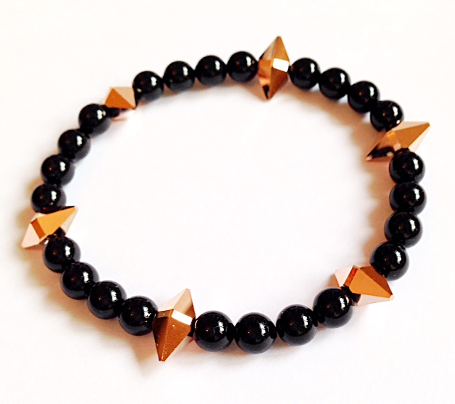<!--005-->Swarovski Rose Gold Spike & Black Pearl Bracelet