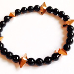 Swarovski Rose Gold Spike & Black Pearl Bracelet
