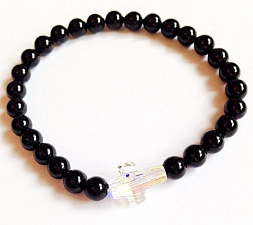 <!--008-->Swarovski Crystal Cross & Crystal Pearl Bracelet