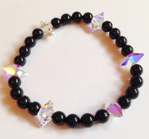 <!--009-->Swarovski Crystal Spike & Crystal Pearl Bracelet