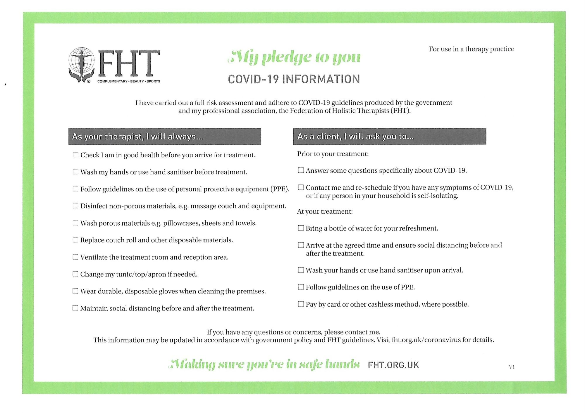 Fht Secure Covid Policy