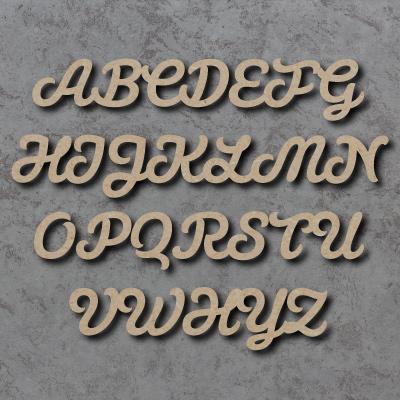 Script Font Single Wooden Letters