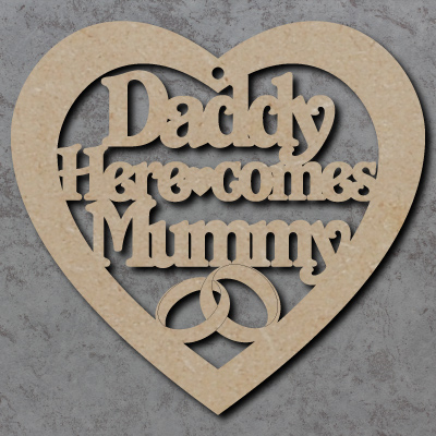 Daddy Here Comes Mummy Heart Craft Shapes