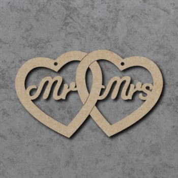 Mr & Mrs Linked Hearts Detailed Craft Shapes