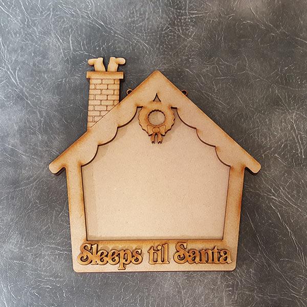 Sleeps til Santa House Chalkboard Craft Sign